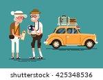 cool vector flat character... | Shutterstock .eps vector #425348536