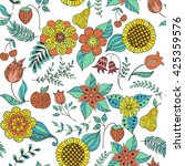 colorful floral doodle seamless ... | Shutterstock .eps vector #425359576