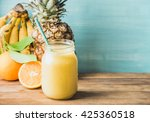 freshly blended yellow and... | Shutterstock . vector #425360518
