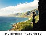 silhouette of female hiker... | Shutterstock . vector #425370553