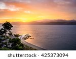 sunrise from seatoun bay in... | Shutterstock . vector #425373094