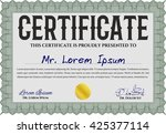 green diploma template. with... | Shutterstock .eps vector #425377114