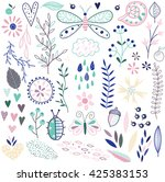 set of vector floral elements... | Shutterstock .eps vector #425383153