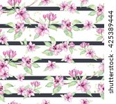 sakura on the striped... | Shutterstock . vector #425389444