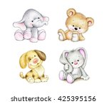 Stock photo set of animals elephant bunny bear dog 425395156
