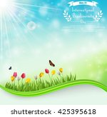 biodiversity meadow background... | Shutterstock .eps vector #425395618