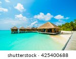 beautiful tropical beach and... | Shutterstock . vector #425400688