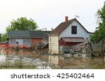 flooded and ruined houses in... | Shutterstock . vector #425402464
