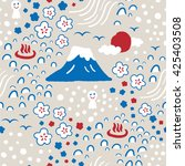 hand drawn colorful japanese... | Shutterstock .eps vector #425403508