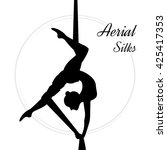 silhouettes of a gymnast in the ... | Shutterstock .eps vector #425417353