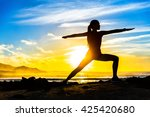 silhouette of fitness athlete... | Shutterstock . vector #425420680