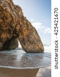 Small photo of The arch on the beach adraga. Sintra. Portugal
