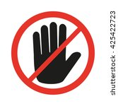 red stop hand sign | Shutterstock .eps vector #425422723