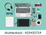 workplace flat lay | Shutterstock .eps vector #425432719