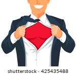 guy rips his shirt to show his... | Shutterstock .eps vector #425435488