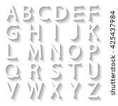 set of white english letters... | Shutterstock .eps vector #425437984