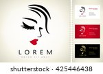 woman face and hair logo vector | Shutterstock .eps vector #425446438
