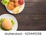 fast food big hamburger on... | Shutterstock . vector #425449258