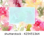 peony greeting card. watercolor ... | Shutterstock . vector #425451364
