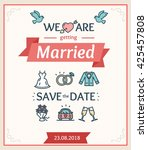 wedding invitation or... | Shutterstock . vector #425457808
