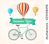summer card with hot air... | Shutterstock . vector #425458498