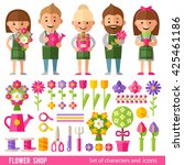 vector set of characters and... | Shutterstock .eps vector #425461186