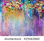 abstract floral watercolor... | Shutterstock . vector #425462860