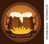 two wooden beer mugs and wheat... | Shutterstock .eps vector #425466124