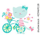 Stock vector cat with a bicycle and flowers vector illustration colors 425469118