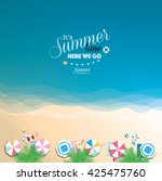 Colorful Summer Beach Vector...