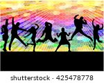 dancing people silhouettes.... | Shutterstock .eps vector #425478778