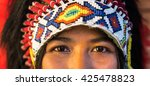 close up of indian woman hunter.... | Shutterstock . vector #425478823