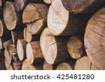 pile of firewood. preparation... | Shutterstock . vector #425481280