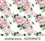 2 peonies watercolor pattern | Shutterstock . vector #425490673