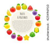 fruits and vegetables round... | Shutterstock .eps vector #425496910
