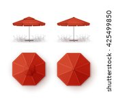 Vector Set Of Red Blank Patio...