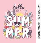 hello summer   cute... | Shutterstock .eps vector #425522824