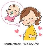 woman pregnant   Shutterstock .eps vector #425527090