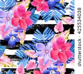 Seamless Pattern With Pink And...