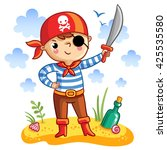 ute pirate  in cartoon style.... | Shutterstock .eps vector #425535580