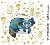 cute vector card with tribal... | Shutterstock .eps vector #425536123