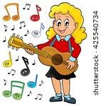 girl guitar player theme image... | Shutterstock .eps vector #425540734
