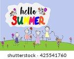 children group of kids. hello... | Shutterstock .eps vector #425541760