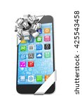 black phone with silver bow and ... | Shutterstock . vector #425543458