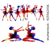ballet. watercolor. | Shutterstock . vector #425562436
