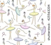 seamless pattern with dancing... | Shutterstock .eps vector #425563204