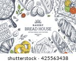 bakery background. linear... | Shutterstock .eps vector #425563438