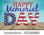 happy memorial day on water... | Shutterstock . vector #425568880