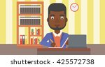 an african american man sitting ... | Shutterstock .eps vector #425572738