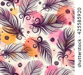 seamless pattern with feathers. ... | Shutterstock .eps vector #425585920